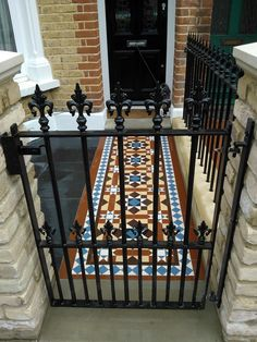 Entrance / Doors victorian mosaic tile path london installation How To Choose A Pot Rack For Your Ki Victorian Front Garden, Victorian Front Doors, Victorian Terrace, Victorian Mosaic Tile, Front Path, Garden Tiles, Small Front Gardens, House Entrance, Entrance Halls
