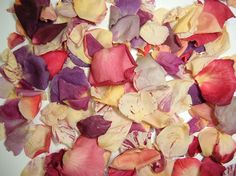 Budget blend, freeze dried rose petals for aisles. (Get premium blend for table tops).  5 cups / pkg. for $7.50  3 pkg. / $7 each