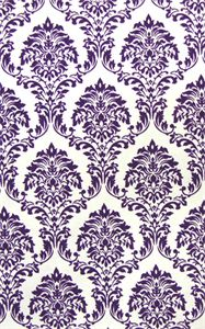 Damask Pattern Purple Flock On White Matt Flocked Designer Paper