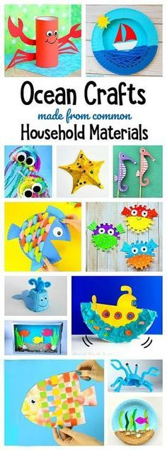 Over 65 ocean crafts for kids using common materials from around the house using paper plates plastic bags egg cartons etc. You'll find sea life art including crabs jellyfish starfish whales fish and more! Cool Art Projects, Projects For Kids, Diy For Kids, Craft Projects, Craft Ideas, Around The World Crafts For Kids, Under The Sea Crafts, Play Ideas, Fun Ideas