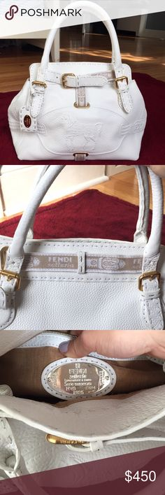 FENDI (authentic) Selleria Embossed leather bag Classic white 'Roman' pebble leather FENDI Selleria handle bag with embossed horse crest on the front. Beautiful rolled leather handles, tonal stitching, gold-tone, and a zip pocket on the inside. Never worn, BRAND NEW. This is the best price compared to other sites. Fendi Bags Totes