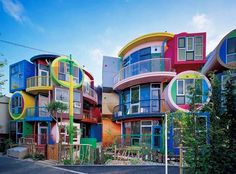 "Who wants to stay in a colorful ""challenging house""?   The Reversible Destiny Lofts also known as the ""Ultrachromatic Undying House"" is a residential building built in 2005 in Mitaka Tokyo.   Inspired by Helen Keller the building features nine units in 14 different colors and is an example of ""procedural architecture""a philosophy that aims to mentally-sharpen residents by highlighting certain movements in which some activities such as flipping light switches and preparing a meal may be…"