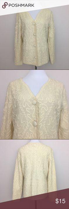 """Charter Club Cardigan, 100% Merino Wool, Cream, M Charter Club Cardigan. Excellent used condition. No defect.  Ivory or cream color. Fabric is 100% merino wool. Dry clean only.  Size M Armpit to armpit laid flat 19.5"""" Length 24"""" Approximate only.  Pre-owned in great condition.  Stored in a smoke and pet free household.  Please see pictures for details or asks any questions before buying to avoid return! Charter Club Sweaters Cardigans"""