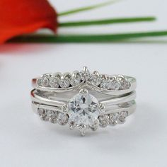 Round Diamond Bridal Set 14K White Gold Engagement Ring Wedding Band 1.50 Ct #beijojewels