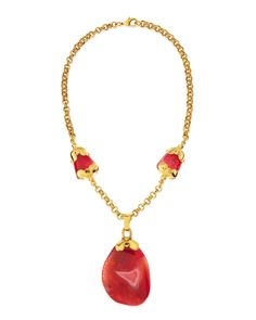 "Jose & Maria Barrera Long Pink Agate Pendant Necklace, 21""L"