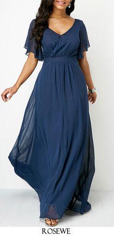 V Neck Navy Blue High Waist Maxi Dress.#Rosewe#dress#womensfashion