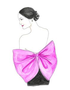Pink Bow Fashion Illustration Print Low Back Watercolor by Zoia
