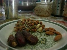 Sprouts and nuts and dates - healthy breakfast