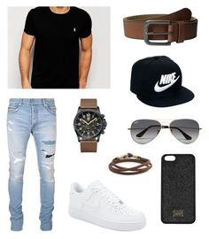 """Unbenannt #4"" by anja187 on Polyvore featuring Balmain, Polo Ralph Lauren, Luminox, Caputo & Co., Timberland, NIKE, Ray-Ban, men's fashion und menswear"