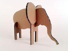 Slon z kartonu - 4, Zabawki, karton, tektura, zwierzaki, cardboard, toys, dzieci, kids,