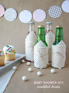 DIY Baby Shower Swaddled Drinks.