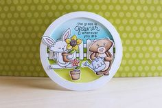 Spring Garden Bear and Bunny Card by March Guest Designer Eloise Blue | Garden Whimsy Stamp set by Newton's Nook Designs #newtonsnook