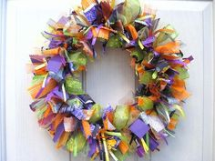 Halloween Wreaths Ribbon Wreath Fabric Door by AWorkofHeartSA, $75.00