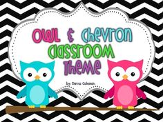 Owl and Chevron Classroom Theme Pack  Also in polka dot :D
