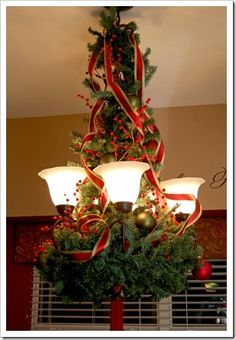 How to Decorate your Chandelier for Christmas..going to do this !