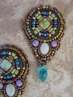 ~~Mosaic Earrings ~ beads, crystal, natural stones by HeidiKummliDesigns~~