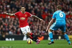 Di Maria, in action against Sunderland, was taken off before the second half at Old Trafford on Saturday Old Trafford, Man United, Sunderland, Manchester United, Two By Two, Action, The Unit, Football, Baseball Cards