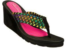 Skechers Womens Promenade Interlace 38396 Stretch Weave Wedge Thong Sandal Shoes #SKECHERS #PlatformsWedges