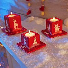 Bougeoir et soucoupe rennes. Vive Noël ! #deco #blancheporte