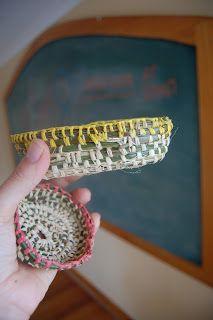 weaving basket with raphia