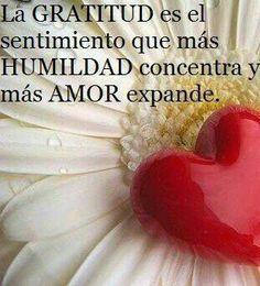 La GRATITUD es el sentimiento que mas HUMILDAD concentra y mas AMOR expande