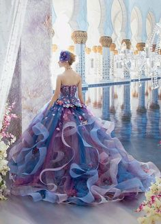 A pretty blue and purple layered organza evening gown.
