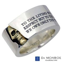 """TO THE LIVING WE OWE RESPECT BUT TO THE DEAD WE OWE ONLY THE TRUTH.""  DrMONROE [Doctor Monroe] silver ring K18YG18 gold Combi Men's skull message SV925Silver ring 13-30 No."