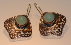 Byzantine /ancient style earrings 925 sterling silver chalcedony stone handmade gift by NelitaCollection on Etsy