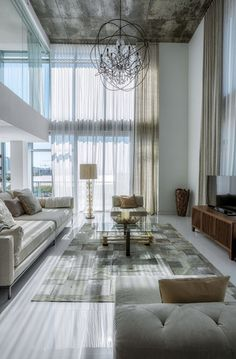 Luxurious Apartment Layout With Large Glass Wall And Open Residing Area In Miami