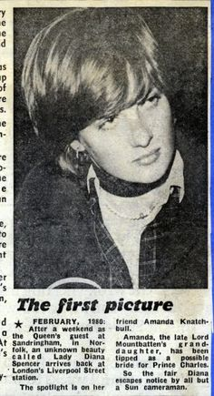 Lady Diana Spencer mentioned in article about first picture and hint of her involvement with Charles.