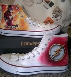 The flash superhero shoes custom converse shoes hand painted shoes DC comics The flash superhero shoes custom converse shoes hand 162 21 Custom Converse Shoes, Pumas Shoes, Custom Shoes, Shoes Sandals, Shoes Sneakers, Painted Canvas Shoes, Hand Painted Shoes, Shoes 2018, Prom Shoes