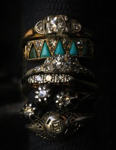 Some new diamonds. Look at that turquoise and diamond one! I can imagine no nicer turquoise and diamond ring.  And there are a couple more big diamond rings that are being fixed up a bit.  They'll be in next week.    (all but the top ring have sold)