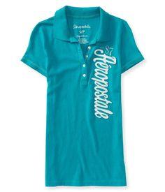 New NWT Aeropostale Graphic Polo Shirt Top A87 Womens Logo Juniors L Large #Aropostale #PoloShirt #Casual