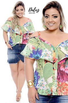 Resultado de imagem para blusas de tecido fino plus size Looks Plus Size, Plus Size Tops, Plus Size Women, Plus Size Dresses, Plus Size Outfits, Stylish Plus, Warm Weather Outfits, Fashion Sewing, African Fashion