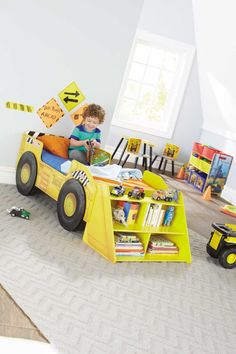 Tonka Truck Toddler Bed  What toddler hasn't wanted their very own bulldozer? Now you can make their dreams a reality with this beautiful wooden Tonka Truck Toddler Bed with Storage Shelf.  #tonka #toddlerbed #toysrus #new #exclusive #bulldozer #yellow #crawler #construction #fun #play #sleep