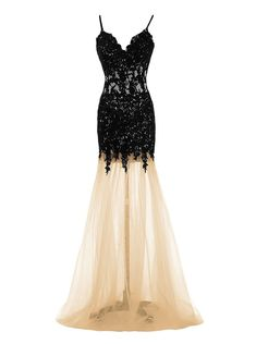 Mermaid Dress Champagne Spaghtti Straps Floor-Length Prom Dress