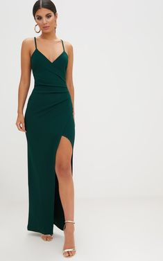 Emerald green crepe maxi dress with wrap front - Formal dresses - Emerald . - Emerald green crepe maxi dress with wrap front – Formal dresses – Emerald green maxi crepe dres - Dresses Elegant, Pretty Dresses, Beautiful Dresses, Dresses Dresses, Dresses Online, Awesome Dresses, Casual Dresses, Backless Dresses, Wrap Dresses