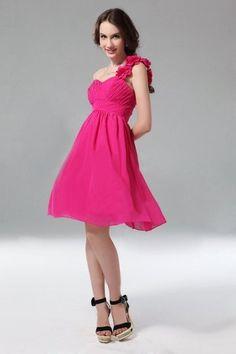 Ruched Flower One Shoulder Chiffon Knee Length A-line Formal Dress