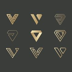 V letter type symbol monogram logo design variation for branding black and gold graphic design logo design inspiration ideas luxury brand hotel