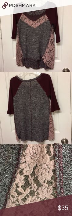 """Half Length Sleeve Multi Patterned shirt Free People """"baseball tee"""" designed shirt. No signs of wear and tear. Multi patterned, and many different types of material used. Free People Tops Tees - Short Sleeve"""