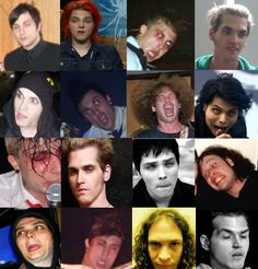 The Many Faces Of My Chemical Romance hahahahha My Chemical Romance, Mcr Memes, Band Memes, Emo Bands, Music Bands, Memes Funny Faces, Mikey Way, Black Parade, Face Facial