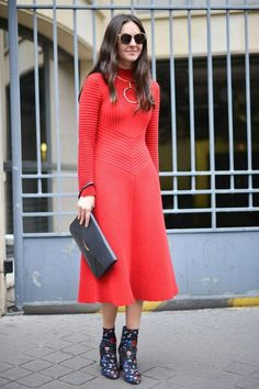 When it comes to Valentine's Day date outfit ideas, you can never go wrong with classic red (toughen it up with a pair of cool ankle boots). Click for more outfit ideas!