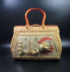 Vintage Atlas? Sea Shell Wicker Lucite Handbag Purse in Clothing, Shoes & Accessories | eBay