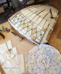 Making the dome panels on a curved form. Solarium Design Group Ltd.