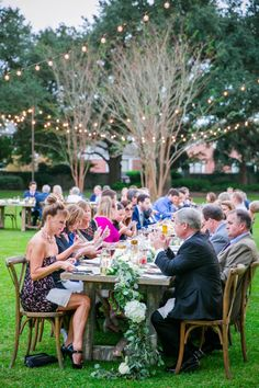 Alfresco Dinner on the Front Lawn at Lowndes Grove | Lavender + Herb Lowndes Grove Wedding by Charleston wedding photographer Dana Cubbage