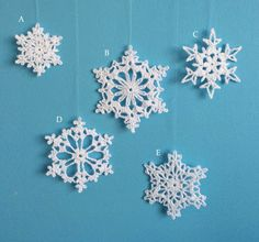 Handmade crochet christmas decorations. These snowflakes are ideal to hang on a tree, or anywhere around the house.