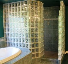 Walk-in Glass Block Shower - we liked this so much we are building another in the new house