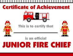 cerificate | Firetruck Themed Birthday Party with FREE Printables
