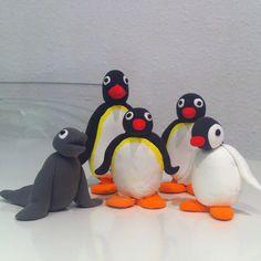 La família Pingu, fets amb Jumpingclay per mi per a la meva filla