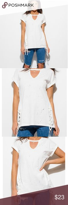 """🆕️🌟White Distressed Tee🌟 Be in style! 100% Polyester  Cuffed sleeve Model is 5'9"""" Model is wearing exact product in size small New without tags  Price Firm unless bundled with another item Tops Tees - Short Sleeve"""